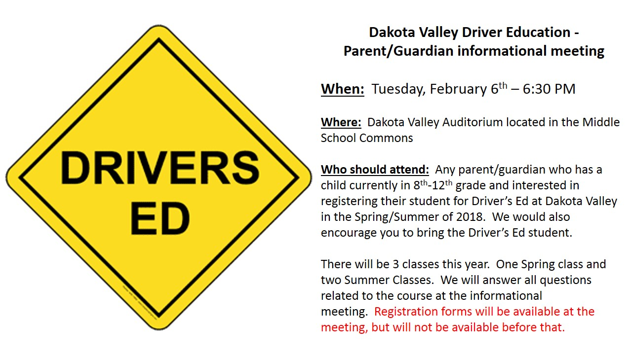 DV Drivers Ed Parent Meeting Info